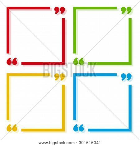 Colorful Set Of Frames For Your Text With Shadow. Text Quote Sign. Colorful Icons In Focus Corners W