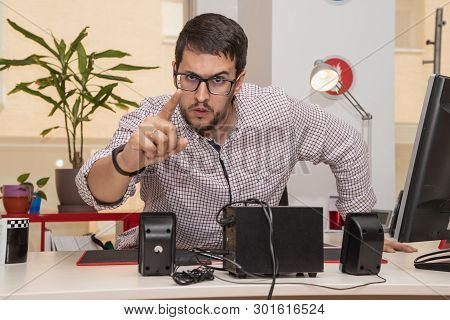 Businessman, In The Office, With Gesture Of Denial