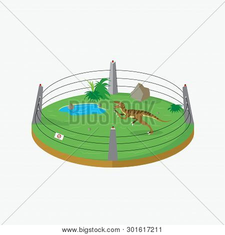 Cage With A Velociraptor Dinosaur In The Park - Vector Illustration - Vector