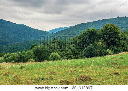 Countryside In Mountain On A Cloudy Summer Day. Beautiful Landscape With Pasture On Hills Near The F