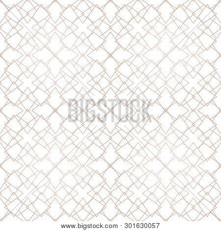 Rose Gold Geometric Seamless Pattern. Vector Metallic Copper Lines On White Background. Golden Ornam