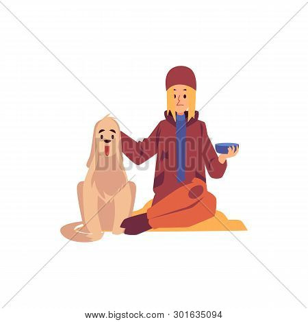 Homeless Woman Sitting With Dog And Holding Begging Bowl Cartoon Style
