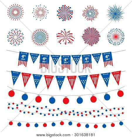 American Flag Color Banners, Garlands And Fireworks Vector Collection. Happy Independence Day, 4th J