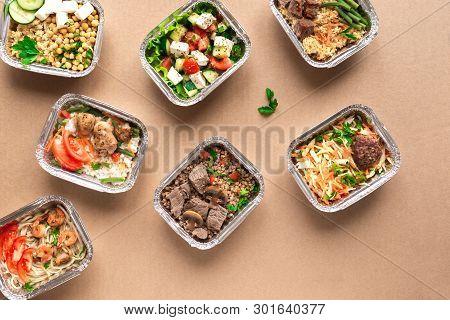 Healthy Food Delivery. Take Away Of Organic Daily Meal, Copy Space. Clean Eating Concept, Healthy Fo