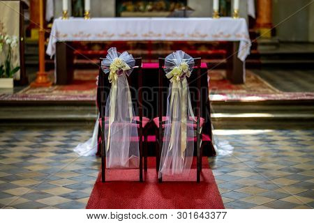 Beautiful Floral Wedding Decoration In A Church. Christian Church Decoration For Wedding Marriage Ce