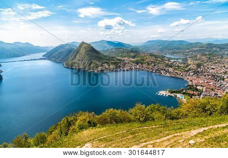 Scenic View Of Lake Lugano With Monte San Salvatore And Lugano Town From Monte Bre,  Ticino, Switzer