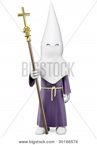 3D penitent in a Holy Week procession. Rendered at high resolution on a white background with diffuse shadows. poster