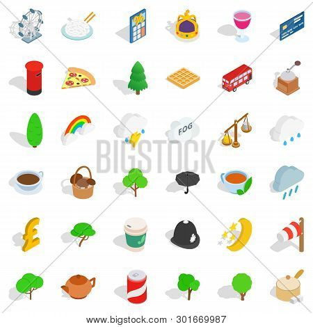 Land Of Britain Icons Set. Isometric Set Of 36 Land Of Britain Icons For Web Isolated On White Backg