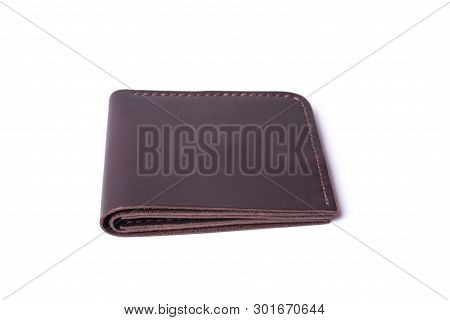 Brown Handmade Leather Man Wallet Isolated On White Background. Wallet Is Closed. Stock Photo Of Lux