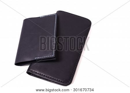 Handmade Blue Passport Cover And Black Purse Isolated On White Background Closeup. Stock Photo Of Is