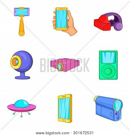Contraption Icons Set. Cartoon Set Of 9 Contraption Icons For Web Isolated On White Background