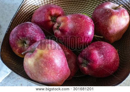 Natural Apple, An Apple, Detached From The Branch On The Powder Apples On Unwashed Powder,