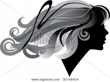 silhouette  of a girl with windblown long hair in profile