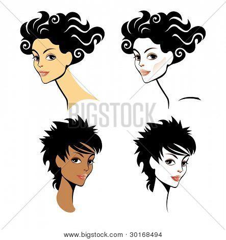 vector portrait of women hair-styling