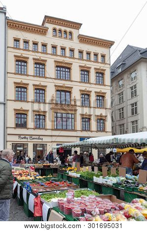 Leipzig, Germany - October 2018: Farmers Market Where Various Kinds Of Fresh Products From Farms Are
