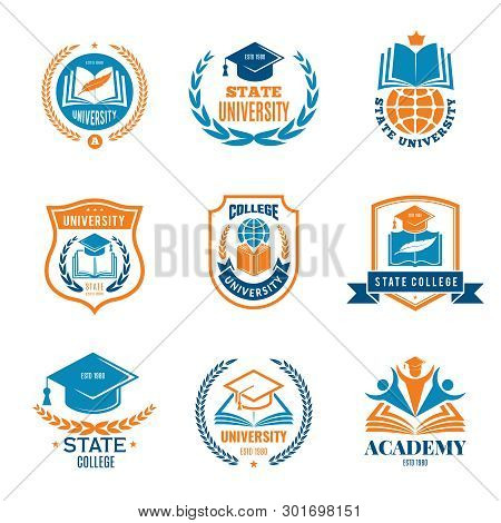 University Badges. School Business Identity Quality Emblem College Vector Logo. Illustration Of Coll