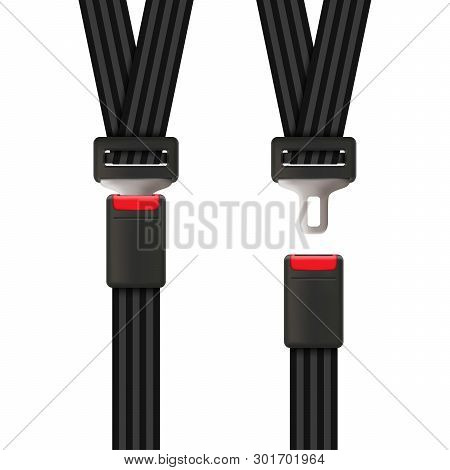 Creative Vector Illustration Of Safety Seat Belt, Open And Closed Seatbelt Isolated On Transparent B