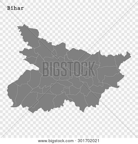 High Quality Map Of Bihar Is A State Of India, With Borders Of The Districts
