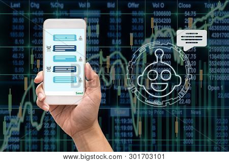 Female Hand Holding Mobile Phone Showing The Chatbot Message While Being Decided Place The Order Ove