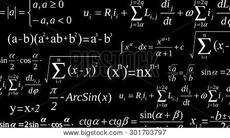 Creative Vector Illustration Of Math Equation, Mathematical, Arithmetic, Physics Formulas Background