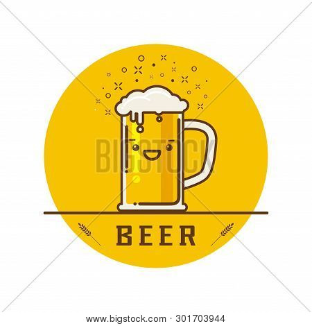 Cheers Mate. Glass Of Beer Isolated Vector Illustration, Minimal Design. Lager Beer Icon On White Ba