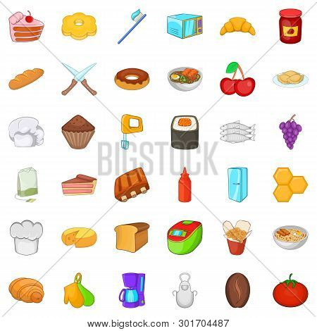 Variety of food icons set. Cartoon set of 36 variety of food icons for web isolated on white background poster
