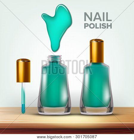 Bottle Of Green Nail Polish Female Cosmetic Vector. Elegant Closed And Opened Full Glassy Vial, Spla