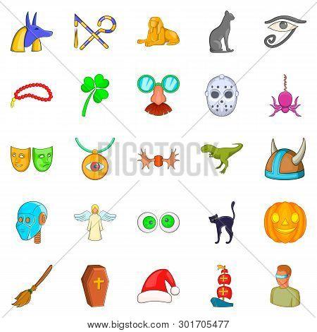 Phantasy Icons Set. Cartoon Set Of 25 Phantasy Icons For Web Isolated On White Background