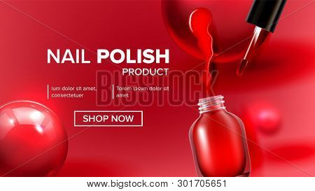 Red Nail Polish Product Vial Landing Page Vector. Glassy Bottle, Tassel, Bright Blot And Balls Depic