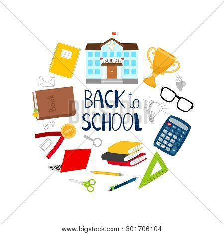 Back To School Vector Banner With Stationery, Books And School Building. Illustration Of Education A