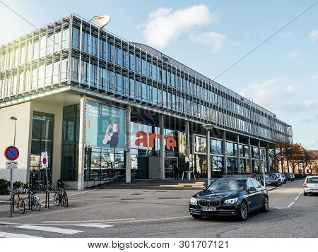 Strasbourg, France - Mar 10, 2019: Side View Of Headquarter Of Franco-german Free-to-air Television