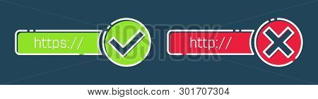 Creative Vector Illustration Of Http, Https Protocol Connection Ssl Encryption Web Site Isolated On