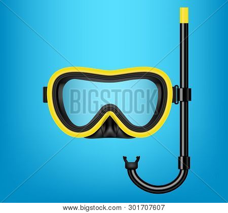 Creative Vector Illustration Of Scuba Diving, Swimming Mask With Snorkel, Goggles, Flippers Isolated