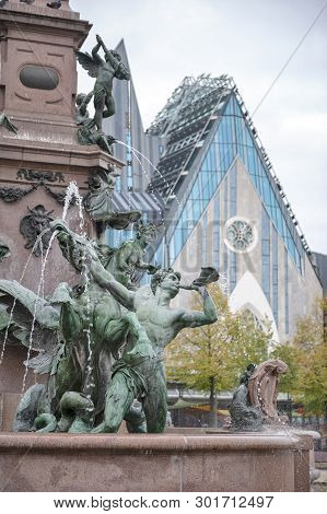 Leipzig, Germany - October 2018: The Mende Fountain (mendebrunnen), Ornamental Fountain Located Near