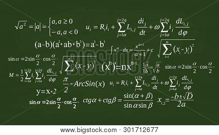 Creative Vector Illustration Of Math Equation, Mathematical, Arithmetic, Physics Formulas Background