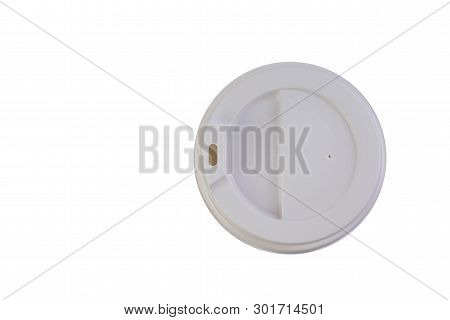 Cover From Paper Cups With Coffee, Isolated White Background. Top View.