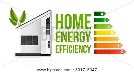 Creative Vector Illustration Of Home Energy Efficiency Rating Isolated On Background. Art Design Sma