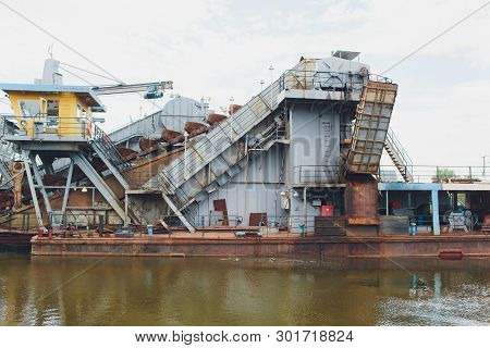 Dredger For Absorption Of Trailer Bunker During Work On Land Reclamation For New Ports. Suction Dred