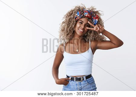 Stylish Hipster African American Young Girl Beauty Blogger Blond Curly Hairstyle, Smiling Delighted