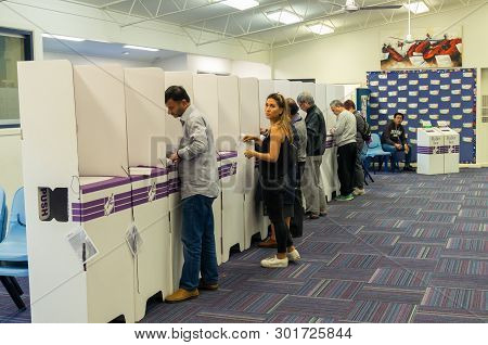 Melbourne, Australia - May 18, 2019: Voters At A Polling Booth In 2019 Federal Election. This Booth