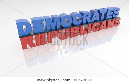 Democrate adn Republican party 3D text XXXL red and blue