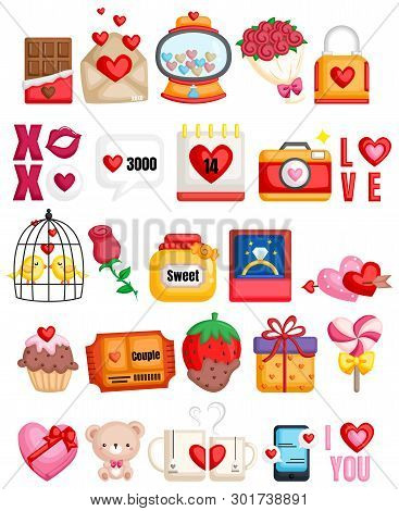 Many Icon Related To Couple And Love