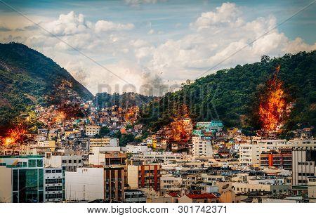 Fire At Favelas In Rio De Janeiro, Brazil - Digital Manipulation
