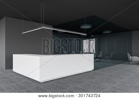 Reception In Gray Office With Conference Room