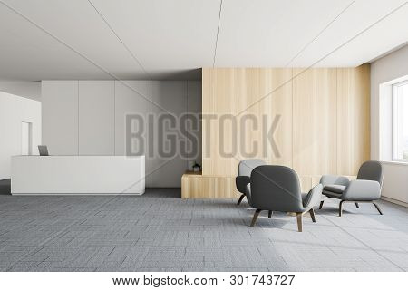 White And Wooden Office Lobby, Reception Desk