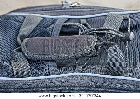 Gray Fabric Texture From Bag With Handle And Zip