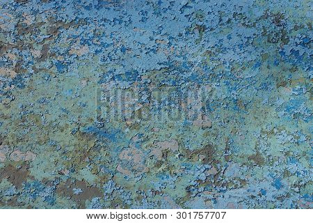 Blue Gray Colored Shabby Paint Texture On Old Iron Wall