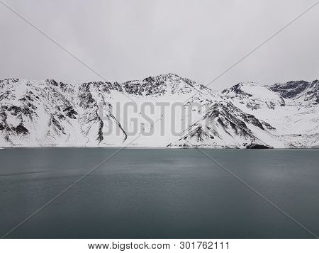 Embalse El Yeso, Cajon Del Maipo - The View Between The Mountains Landscape, Turquoise Water, Los An
