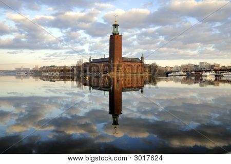 View of Stockholm city hall one early morning. poster