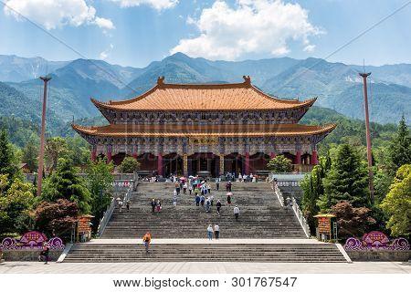 Dali, China - April 25, 2019: The Mahavira Hall Of Chong Sheng Monastery. This Buddhist Monastery  W